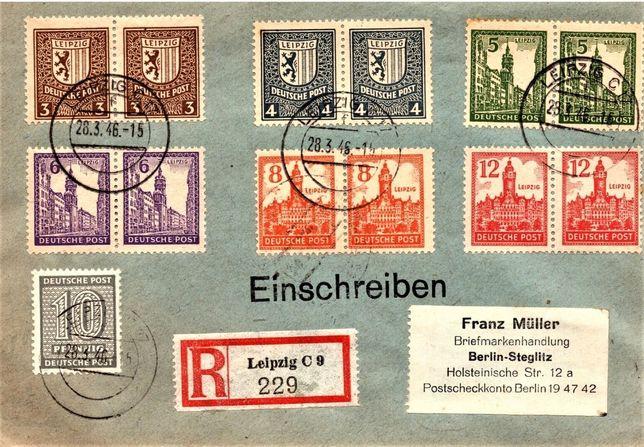Niemcy 1946-SBZ -rzadka koperta polecona! GRATIS WYSYŁKA!