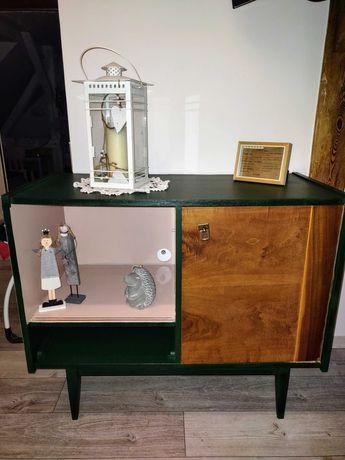 Komoda PRL butelkowa zieleń pudrowy róż vintage retro