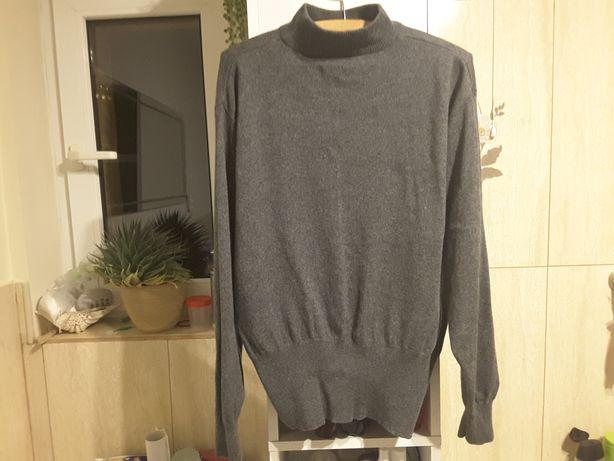 Kaszmirowy sweterek, oversize, kolor stalowy