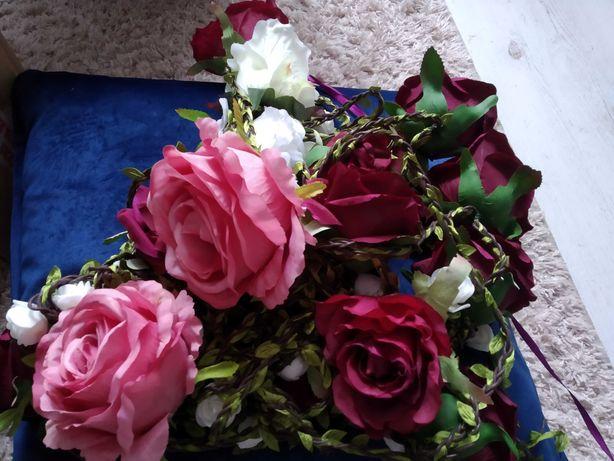 Pozostałości z Wesela, dekoracje, bordo, bez, brudny róż, ścianka