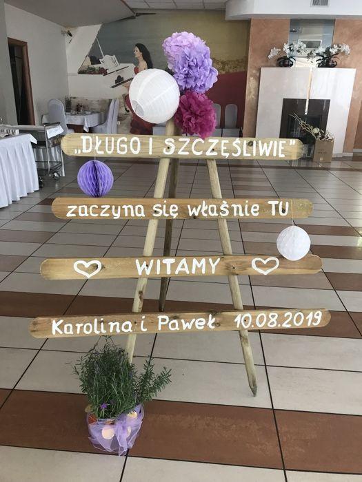 Weselna drewniana tablica baner napis plansza powitalna na ślub wesele Katowice - image 1
