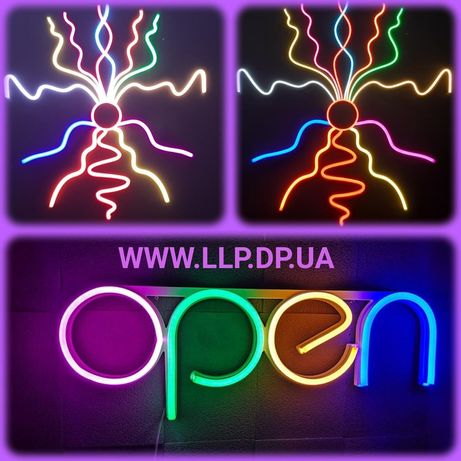 Надписи фигуры формы из светодиодного led neon неона логотип наружная