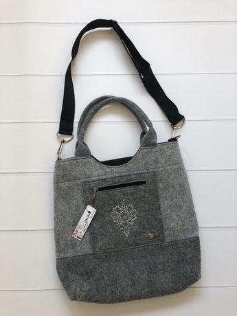 NOWA duża torba torebka z filcu filcowa zdobiona szara TORA AJ FOLK