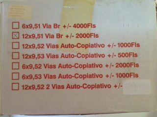 Papel formulário continuo 12x9.5, 1 via, Cx 2000 folhas