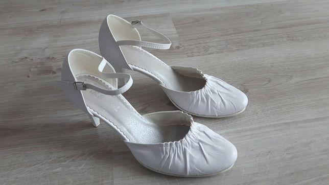 Buty białe ślubne r.38