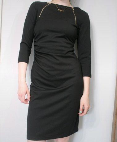 Sukienka midi czarna z zamkami