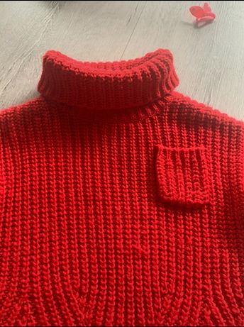 Czerwony golf sweter Zara