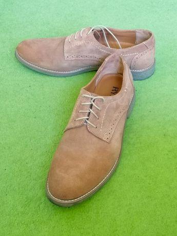 Buty męskie RYŁKO rozmiar 44 półbuty zamszowe beżowe