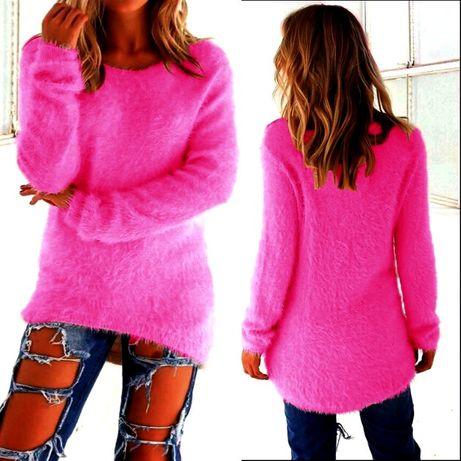 WYPRZEDAŻ Mięciutki Różowy Asymetryczny Sweter XXXL