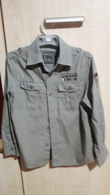 koszula chłopięca khaki 128-134