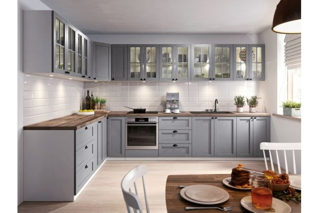 Zestaw kuchenny Linea grey meble kuchenne szare, kuchnia narożna szara