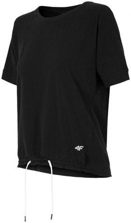 4F: Czarny luźny t-shirt damski koszulka TSD222 nowa z metką rozm S