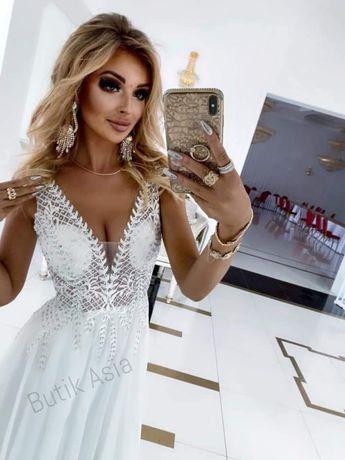 Sukienka ślubna długa maxi 46/XXXL nowa koronkowa ślub poprawiny