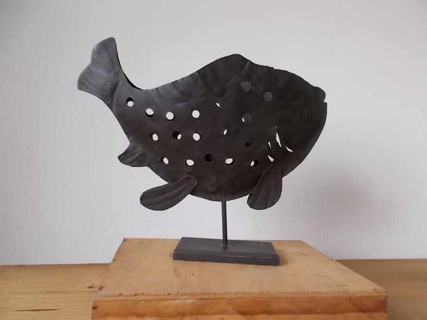 Porta-Vela Metal Peixe Artesanal feito á mao Decoração Rústico Suporte