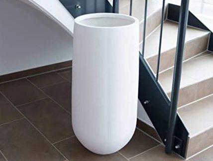 Duża biała donica z włókna szklanego