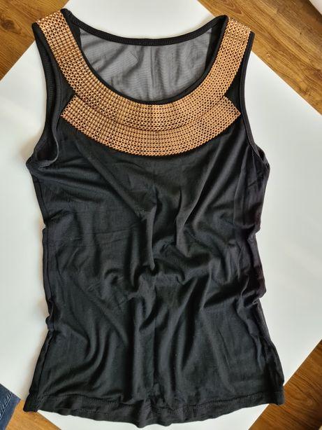 Czarna bluzka złote zdobienie