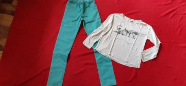 Tregginsy zielone + bluzka ZARA _ 152