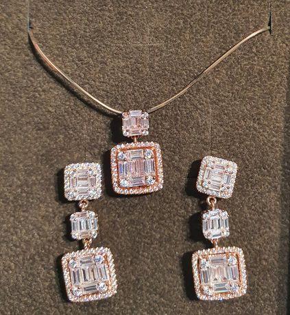 Srebrny łańcuszek, wisiorek, kolczyki w kolorze różowego złota W.Kruk