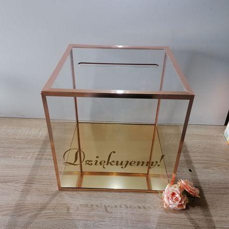 Skrzynka na kartki ślubne, plexi skarbona pudełko szkło akrylowe