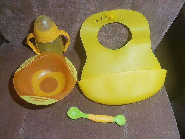 силиконовый нагрудник ложка тарелка на присоске бутылочка baby team