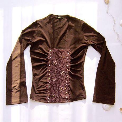 brązowa bluzka z koronką,damski top brązowy,elastyczna bluzka brązowa