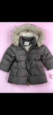 Детский пуховик Zara 2-3 р., дитяча зимова квртка , дівчинка