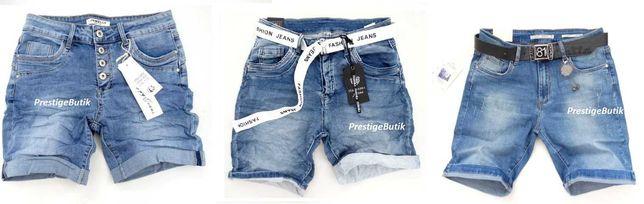 Włoskie boyfriend spodenki damskie jeansowe szorty baggy pasek S