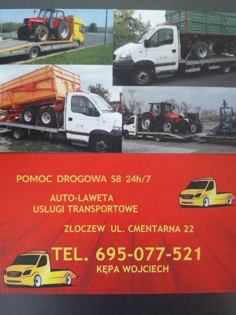 Transport maszyn rolniczych Złoczew laweta Pomoc drogowa s8