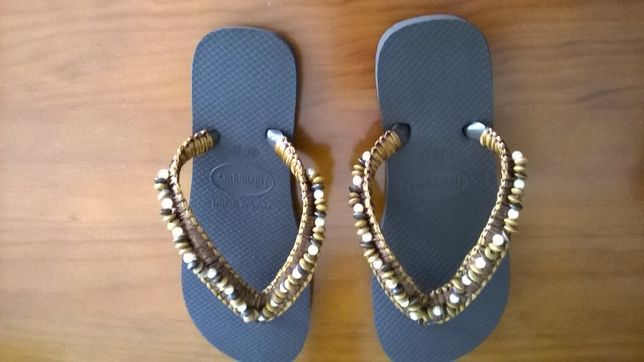 chinelos havaianas feminina, nº 37/38, customizadas, novas