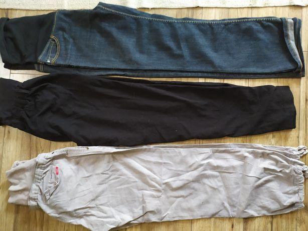 Spodnie ciążowe 44 46 len cygaretki zestaw