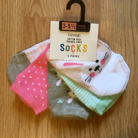 Детские носки, носочки для девочки George, р. 3-5,5, 19-22, набор 5шт