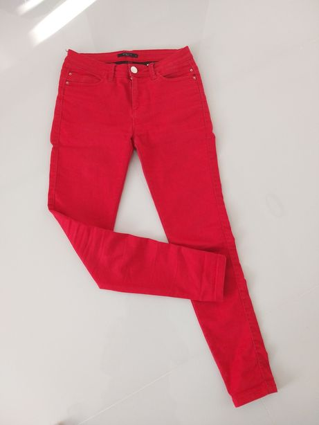 Spodnie rurki Mohito czerwone 34