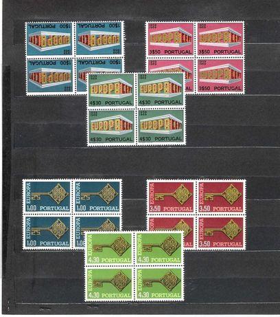 Selos de Portugal tema Europa séries em quadra