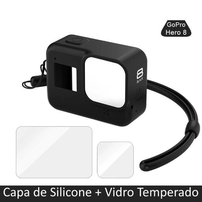 Capa de Silicone Gopro Hero 8 + Vidro Temperado - Novo - Portes Grátis Faro - imagem 1