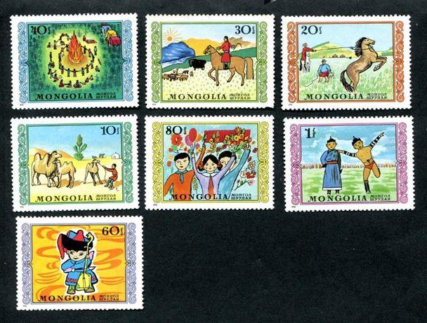 марки: Монголия. Детские рисунки.