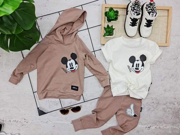 Nowy dres Miki Mickey beż bluza spodnie 92,98,104,110,116,122 polska