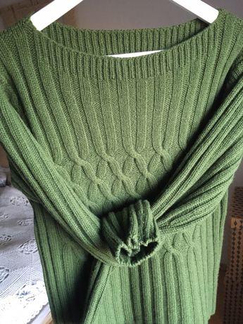 Sweter wełna kaszmir butelkowa zieleń