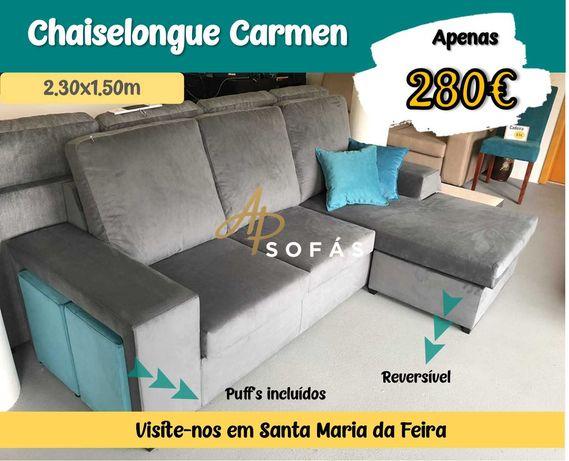 Sofá Chaiselongue Carmen - 2 puff's incluídos - EXPOSIÇÃO DE FÁBRICA