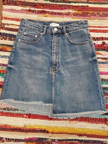 Zara spódniczka jeansowa mini asymetryczna postrzępiona rozmiar S