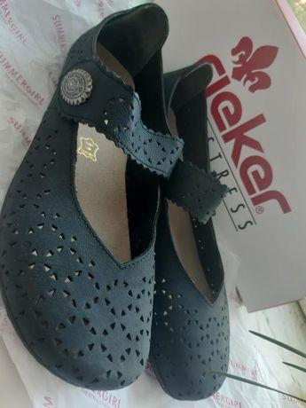 Туфли женские Rieker 38 р кожаные с перфорацией новые