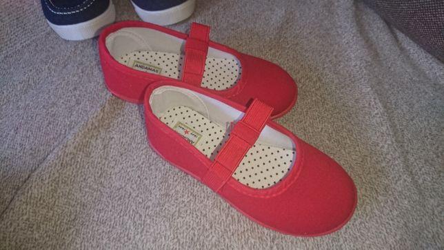 Balerinki Buciki dziewczęce eleganckie czerwone rozmiar 26