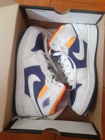 Jordan 1 mid white laser orange deep royal blue