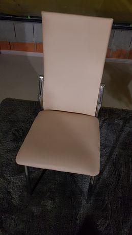 Krzesla kolor beż eko skóra