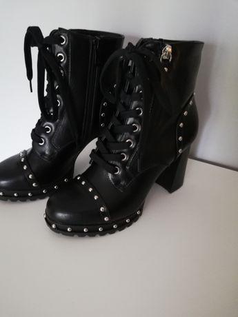 Botki słupek, platforma, buty damskie