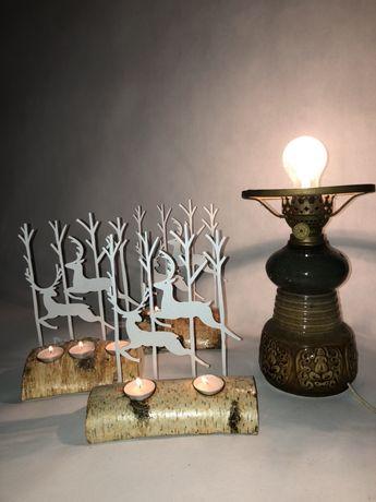 Świecznik świąteczny stroik renifer boze narodzenie ozdoba