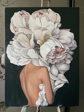 """Интерьерная картина """"Девушка в цветах"""" 45х60 холст/масло"""