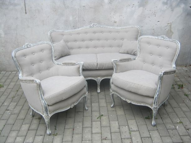 Wypoczynek stylowy ludwik sofa,fotele 2+1+1 po renowacji.