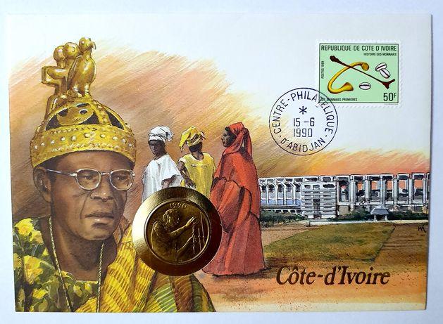 Wybrzeże Kości Słoniowej list numizmatyczny z monetą