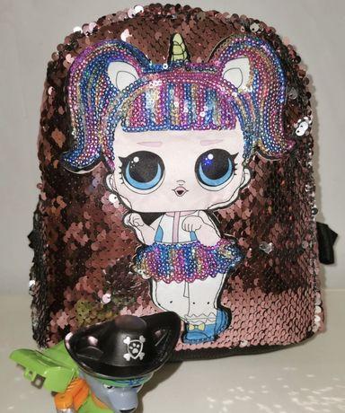 Новый рюкзачек с паетками для девочки с куколкой Лол.