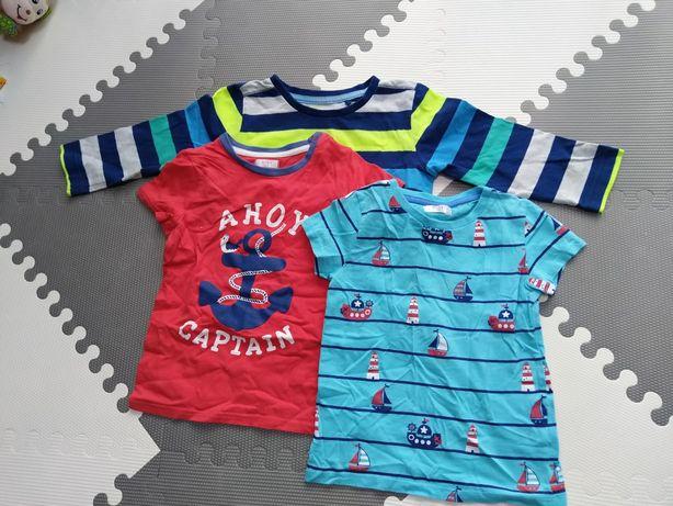 Koszulka krótki długi rękaw 98 dla chłopca zestaw t-shirt top bluzka